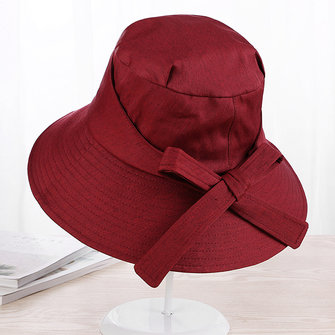 Womens Cotton Bow Summer UV Protection Beach Hats