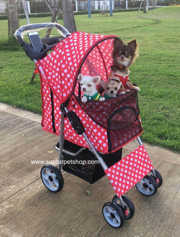 รถเข็นหมา รถเข็นสัตว์เลี้ยง รถเข็นสุนัข สีแดงจุดขาว รับน้ำหนักได้ 20 kg. รถเข็นหมา รถเข็นแมว ขนาดเล็ก