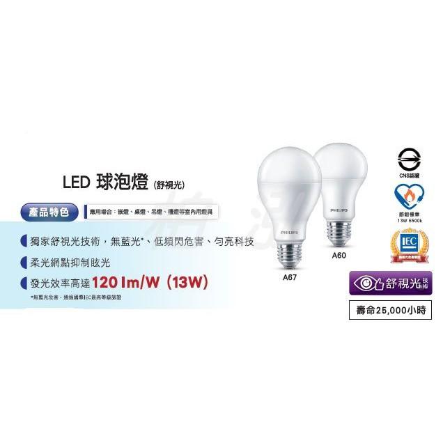 柏泓~飛利浦 PHILIPS LED 舒視光 11W 球泡燈~A60 E27 11瓦燈泡~白光/黃光