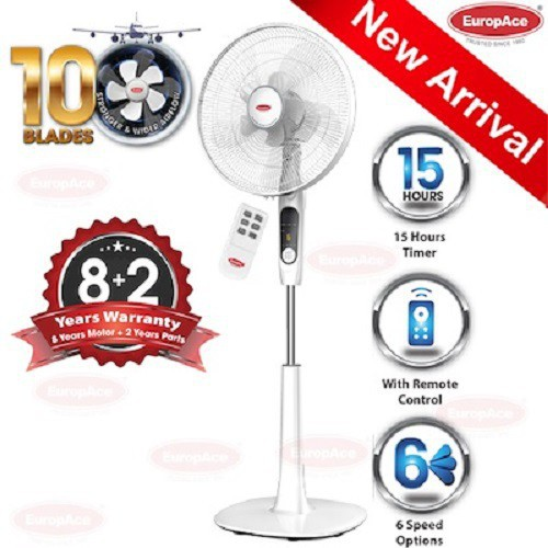 EuropAceESF 6161T 16in Stand Fan with 10 Blades