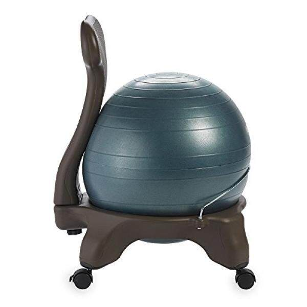 Gaiam Balance Ball Chair – Exercise Stability Yoga Ball Premium Ergonomic Chair for Home and Office Desk with Air Pump, Exercise Guide and, Forest