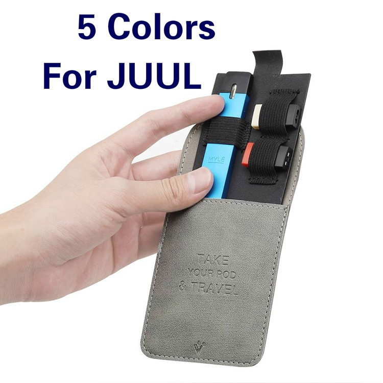 Leather Wallet Pocket For JUUL Carrying Pouch Pods Storage Bag For MYLE Pod System Vape Pen Kit