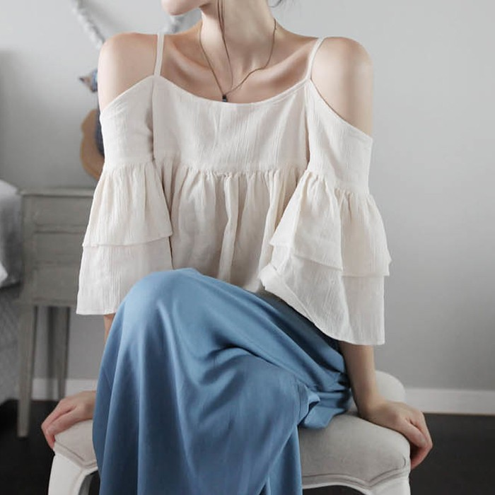 全新 預 韓 露肩荷葉邊棉麻 吊帶衫一字領上衣+寬褲裙 兩件式套裝