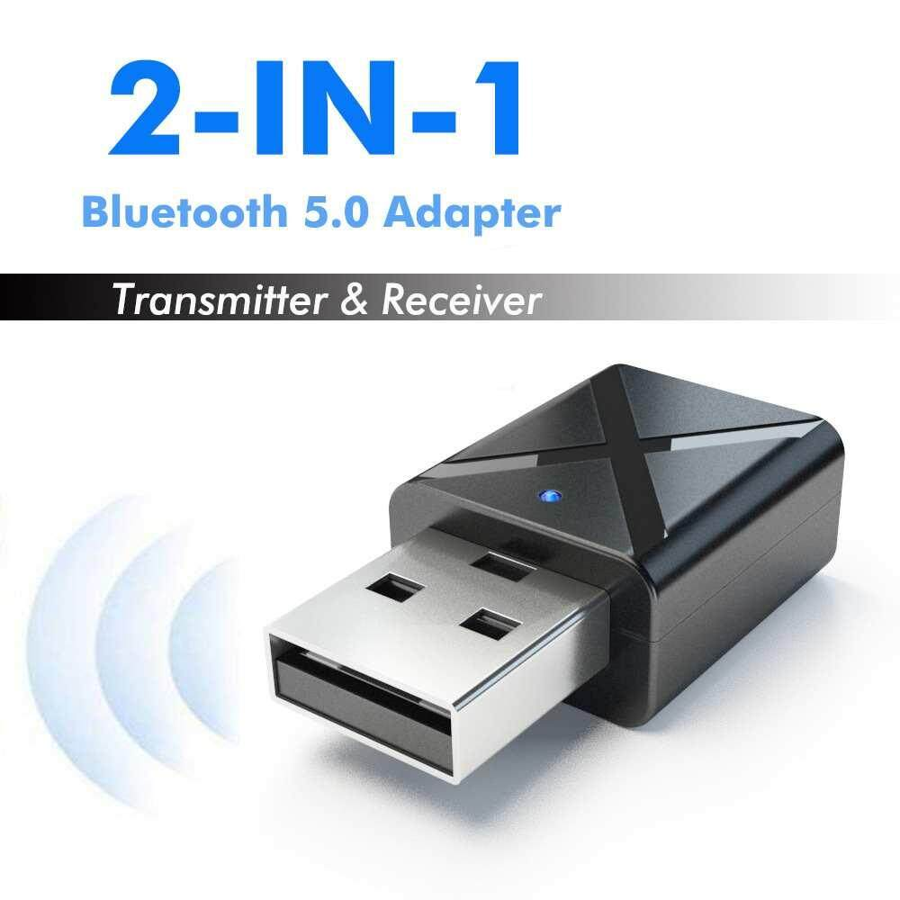 Jiuch KN320 USB Bluetooth Transmitter Receiver 2 in 1 Wireless Audio Adapter 3.5mm Stereo Bluetooth 5.0 Adapter Car Music Bluetooth Transmitter TV