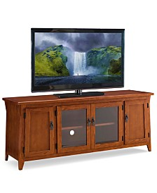 """Leick Home Canted Side Mission Oak 60"""" Four Door TV Console"""