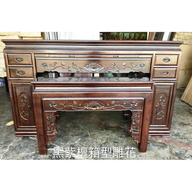 神桌 神明桌 公媽桌 祭祀桌 黑紫檀箱型雕花 寬5.8尺*深2.2尺*高4.2尺