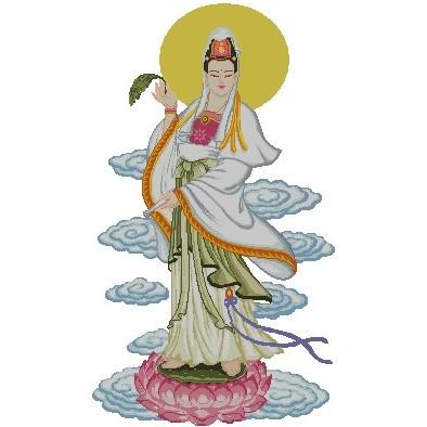 十字繡材料包 宗教 - 滴水觀音 (2) (14CT小格)