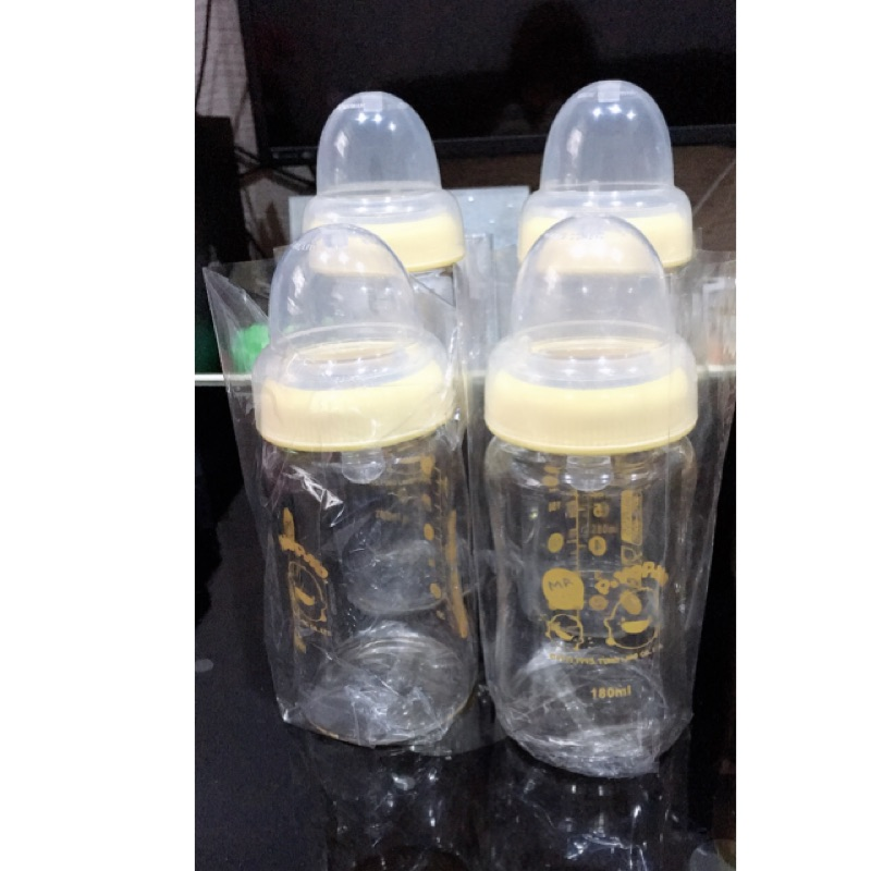 黃色小鴨寬口玻璃奶瓶