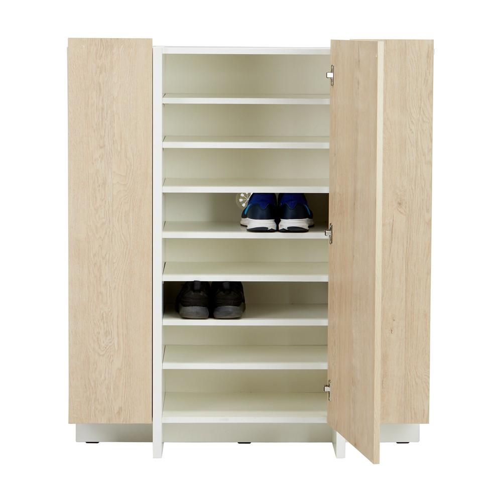 WINNER FURNITURE ตู้รองเท้า 3 ประตู รุ่น รีบอค ขนาด 100 ซม. - สีเอมสตี้ค โอ็ค/ขาว