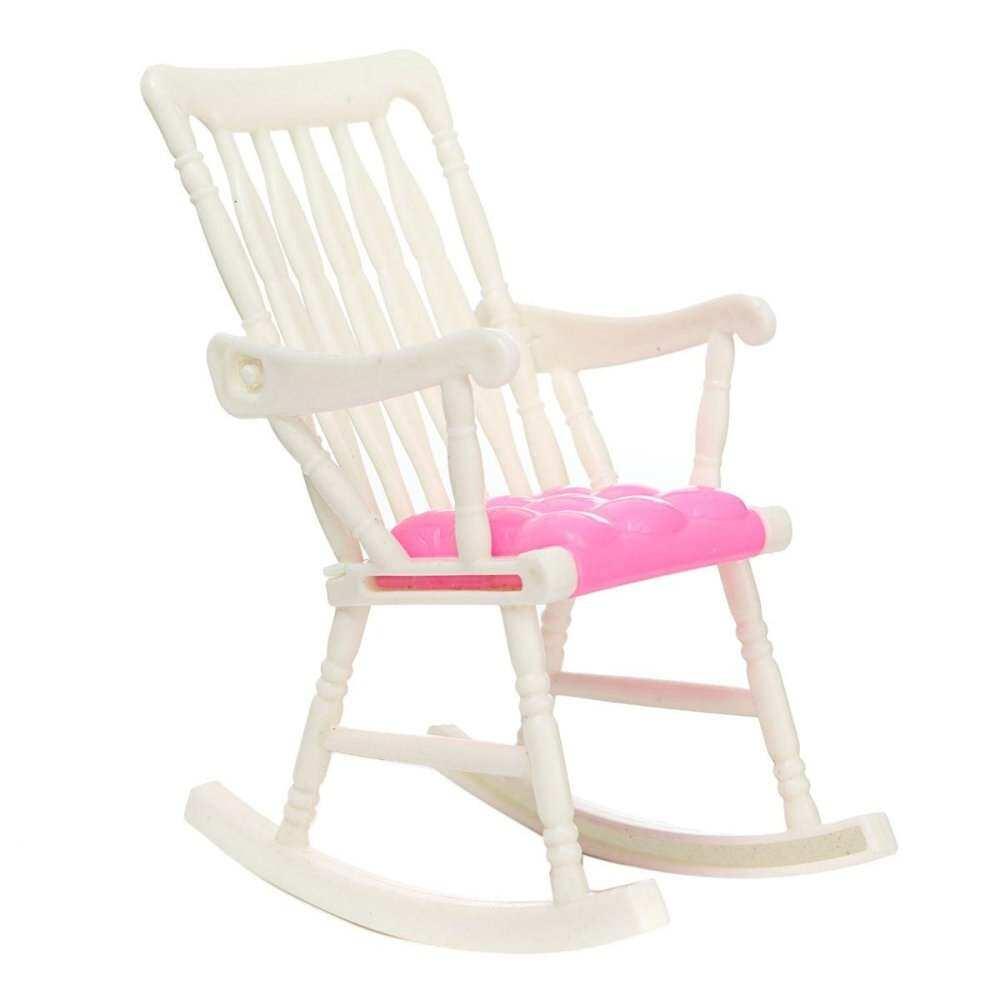 เฟอร์นิเจอร์เก้าอี้โยกห้องนั่งเล่นบ้านตุ๊กตาบาร์บี้อุปกรณ์เสริมตุ๊กตาของเล่น