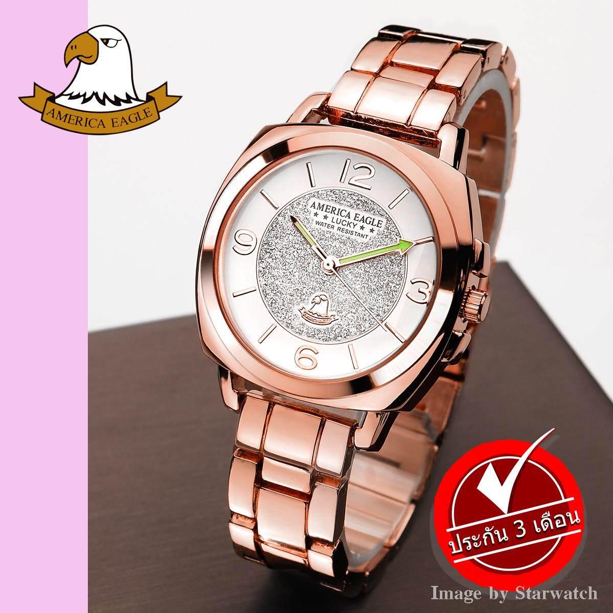 AMERICA EAGLE นาฬิกาข้อมือผู้หญิง สายสแตนเลส รุ่น AE003L - PinkGold /White