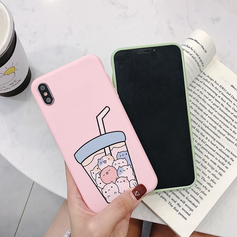 Vivo Y71 Y71i Y75 Y79 V7 Plus Phone Case Milk Tea Soft Back Cover