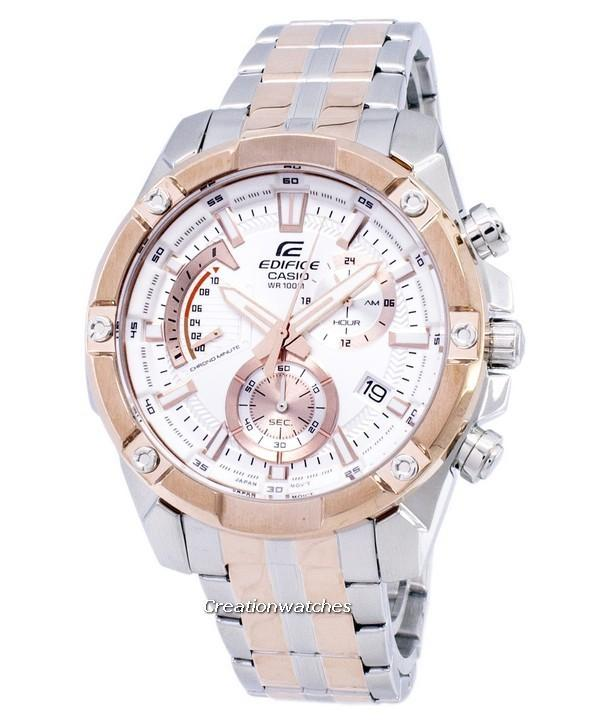 Casio Edifice Chronograph Men's Two Tone Stainless Steel Deployment Clasp Watch EFR-559SG-7AV