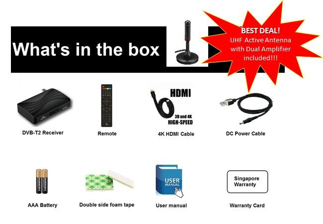 UKOBOX DVB-T2 Receiver DT2 Mini-M1 + UHF Active Antenna with Dual Amplifier ( Value Bundle Set )