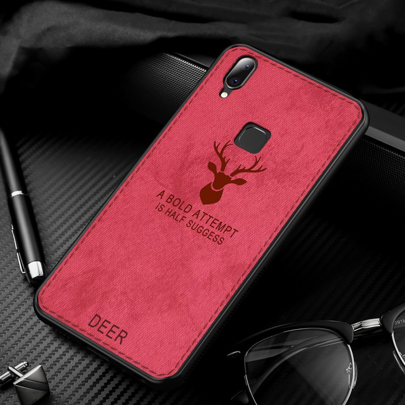 Sweat-resistant Matte Cover for Vivo Y71 Y83 Deer Pattern Soft Cloth Phone Case
