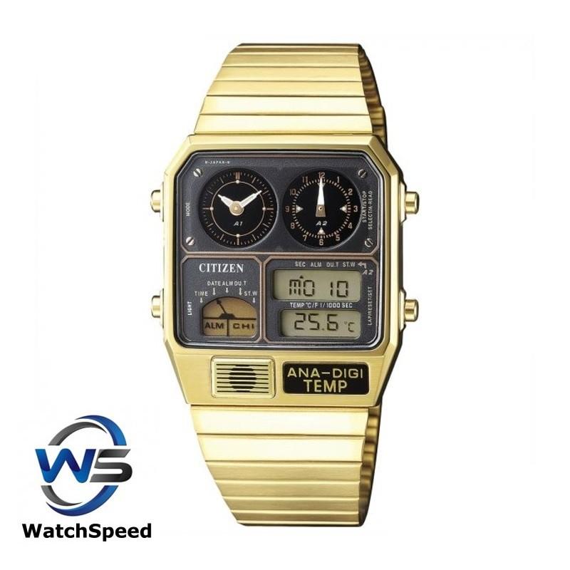 Citizen JG2008-81E Temperature Vintage Dual Time Ana-Digi  Gold Tone Men's Watch