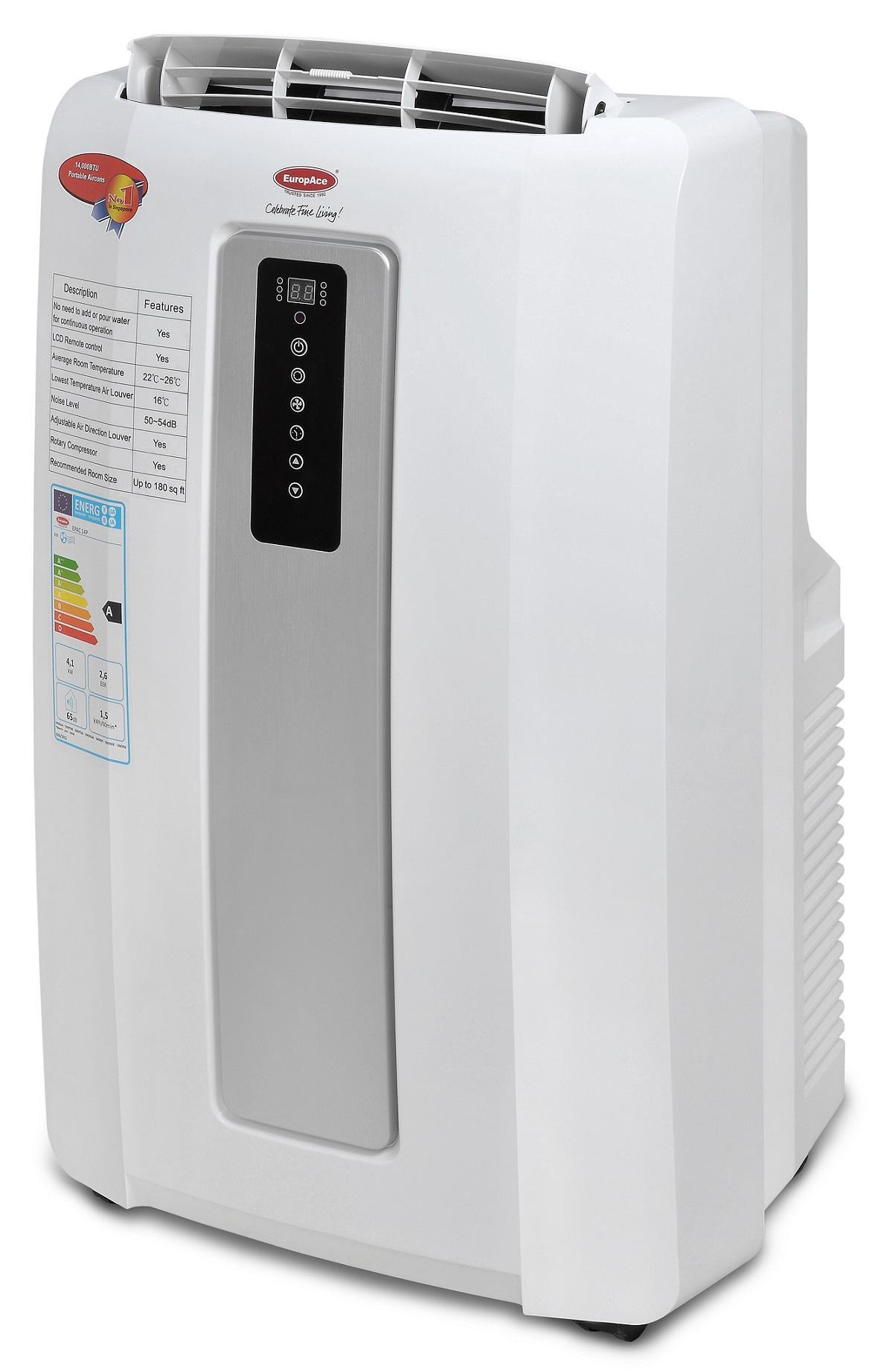 EuropAce EPAC14P 14000BTU Portable Aircon (White) - Energy Saving