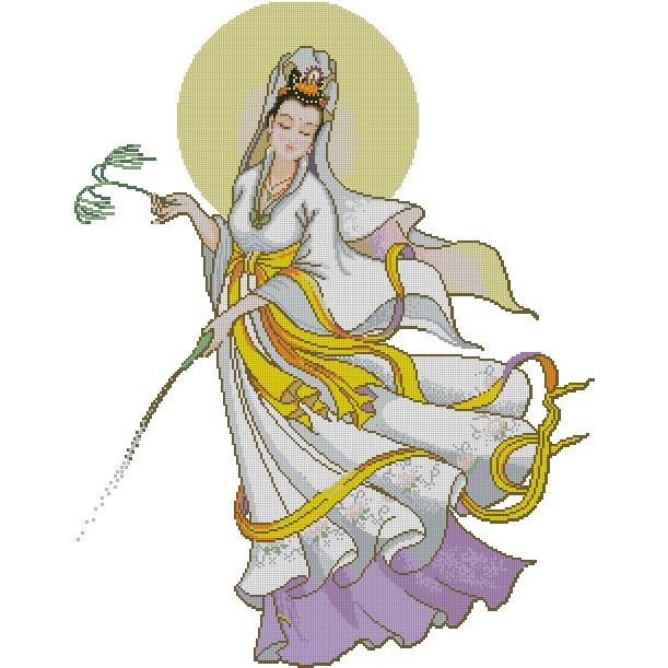 十字繡材料包 / 十字繡圖紙 宗教 - 滴水觀音 (3) (14CT小格)