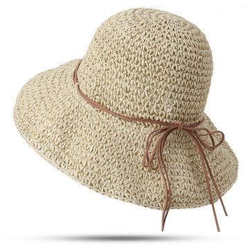 Women Foldable Sunscreen Anti-UV Bucket Straw Hat