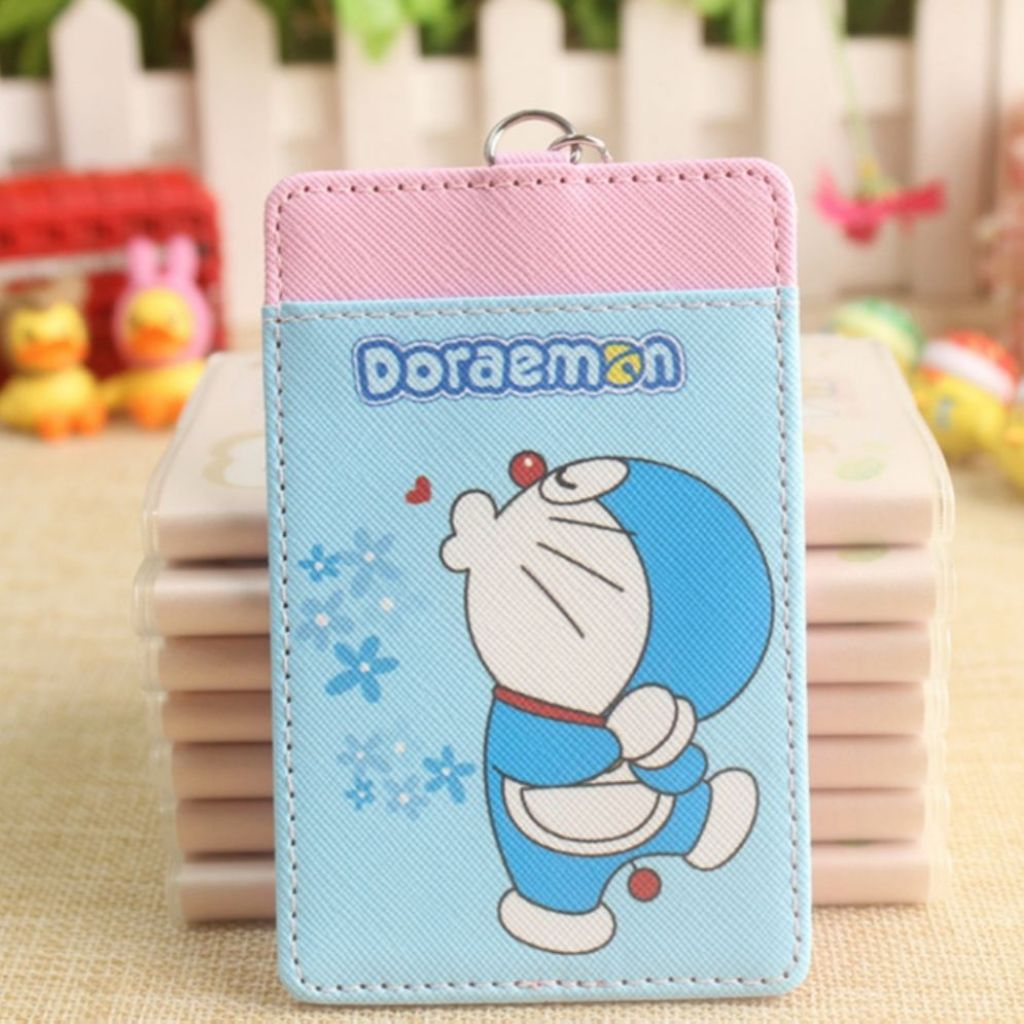 Cute Pouting Doraemon Ezlink Card Holder With Keyring