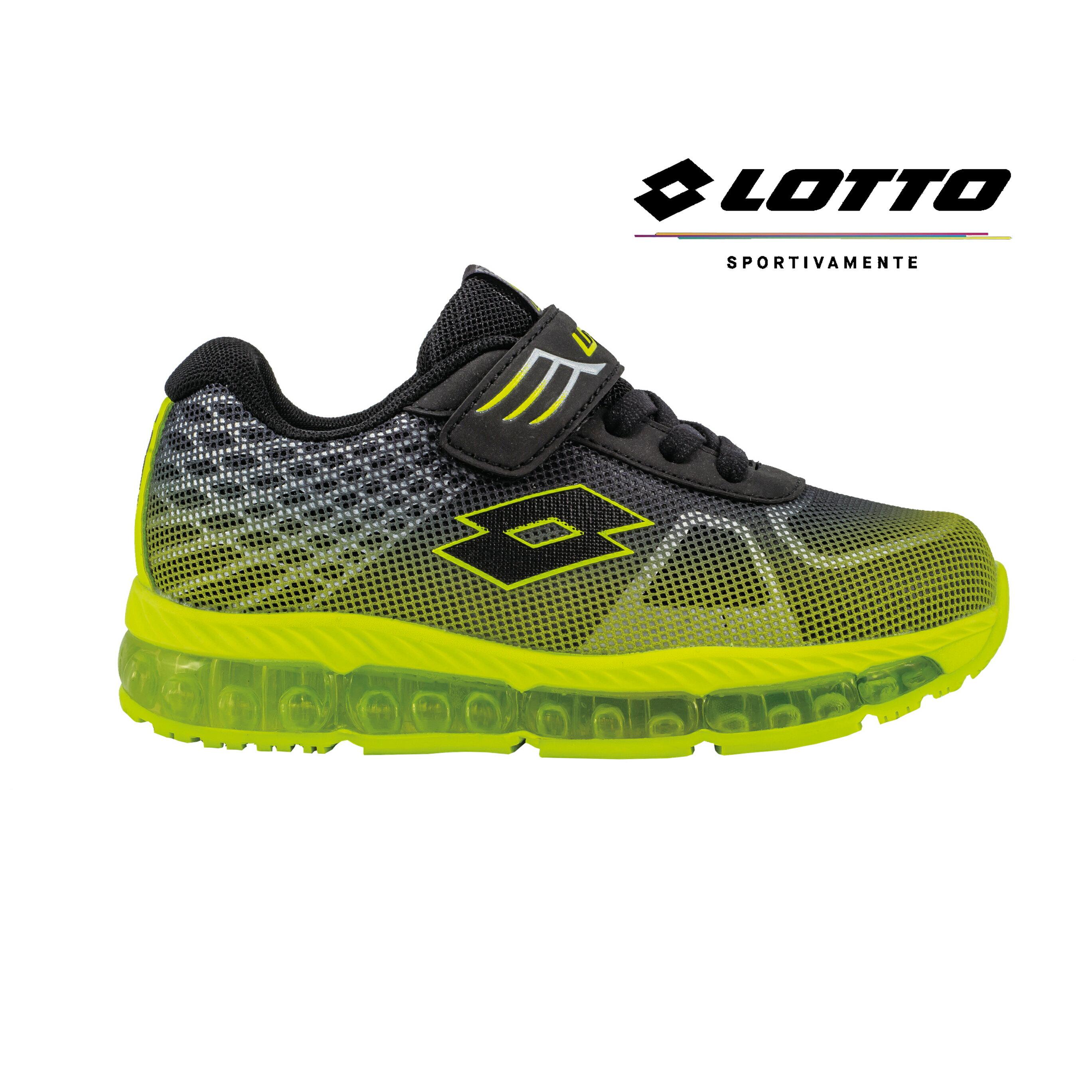 LOTTO樂得-義大利第一品牌 童款無車縫GUMMY全氣墊彈力跑鞋 [3755] 黑綠【巷子屋】