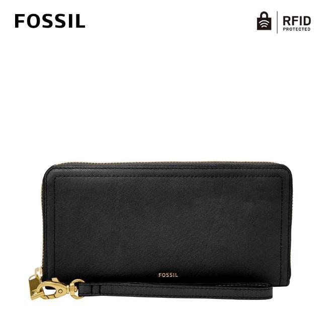【FOSSIL】LOGAN 黑色多層真皮拉鍊長夾SL7831001