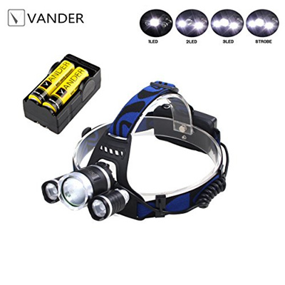 [VANDER LIFE] 1394 - 3x Led Brightest and Best LED Headlamp flashlight - IMPROVED LED, Rechargeable