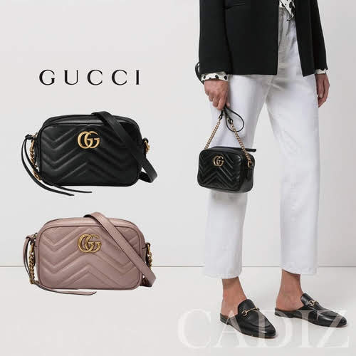 義大利正品 GUCCI GG Marmont matelassé mini bag黑粉紅色迷你流蘇皮革肩包 448065