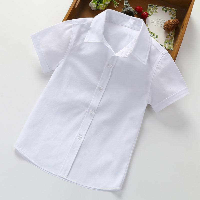 男童白色短袖六一兒童節表演服兒童白襯衫男童襯衫時尚百搭襯衫