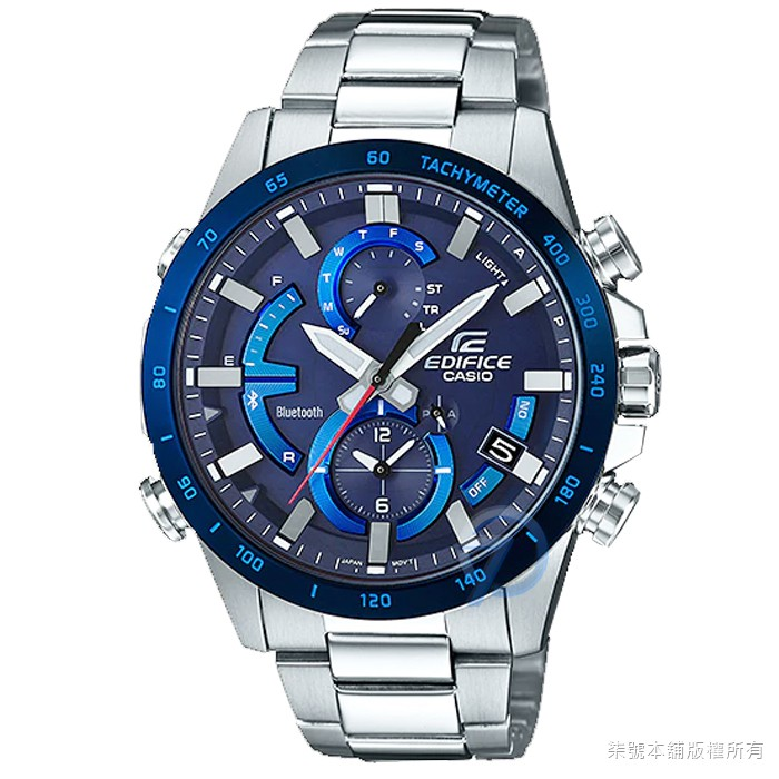 【CASIO】 卡西歐EDIFICE太陽能藍芽智慧鋼帶錶-藍 / EQB-900DB-2A (台灣公司貨)