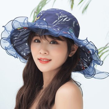Cotton UV Protection Floral Bandaged Large Brim Sun Hat