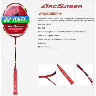 Yonex Arcsaber 11, Strung With Cover, Choice Of STRING (BG 80 Power, 26 LBS)