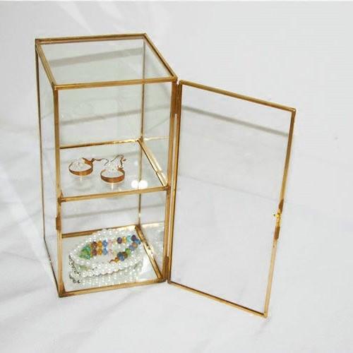【金屬邊框玻璃飾品收藏櫃(底部鏡面)】專櫃展示架 精品飾品戒指耳環項鍊手環珠寶收納 房間裝飾 桌上收納架 透明金屬飾品盒