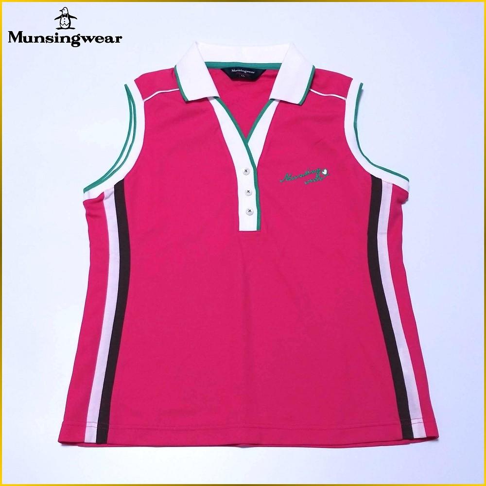 日本古着✈️日本製 Munsingwear 無袖POLO衫 配色 運動排汗衫 企鵝牌 日本女裝 *LL* A0116M