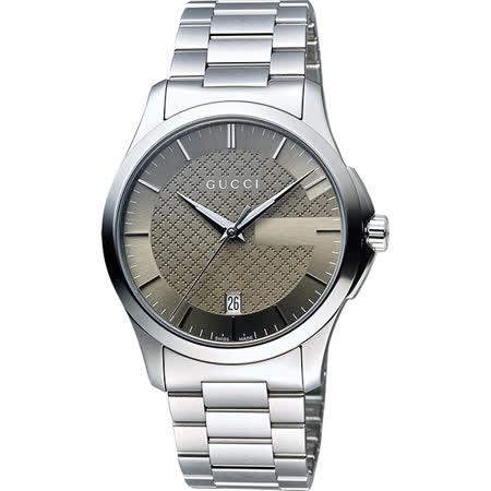 GUCCI 古馳 G-Timeless 菱格紋女錶-棕x銀/38mm YA126445