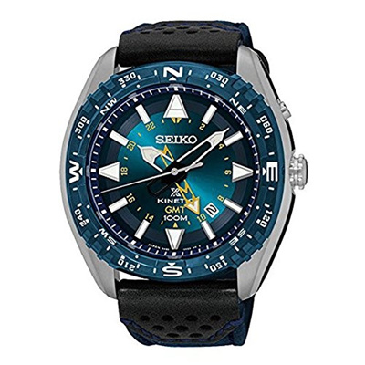 (Seiko Watches) Seiko SUN059 Men s Prospex Kinetic GMT Stainless Nylon/Leather Band Blue Dial Wat...