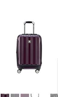 "Delsey Luggage Helium Aero International 19"" 19 inch Carry On Expandable Suitcase Luggage Spinner  Trolley Plum Purple"