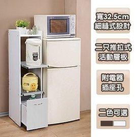 【天空之城】《SK-KR02》《台所》一般型廚房隙縫電器櫃(寬32.5公分)