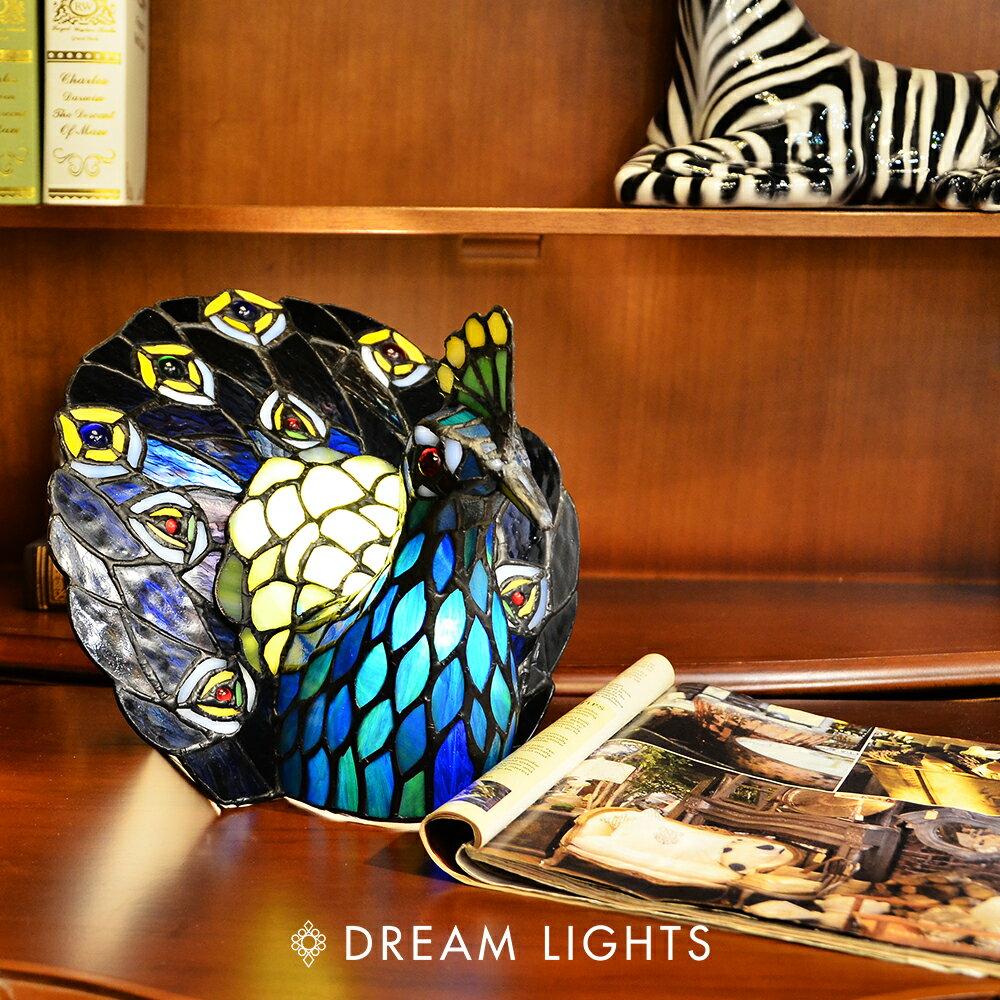 【DREAM LIGHTS】孔雀開屏桌燈|Tiffany蒂芬妮手工彩繪玻璃桌燈