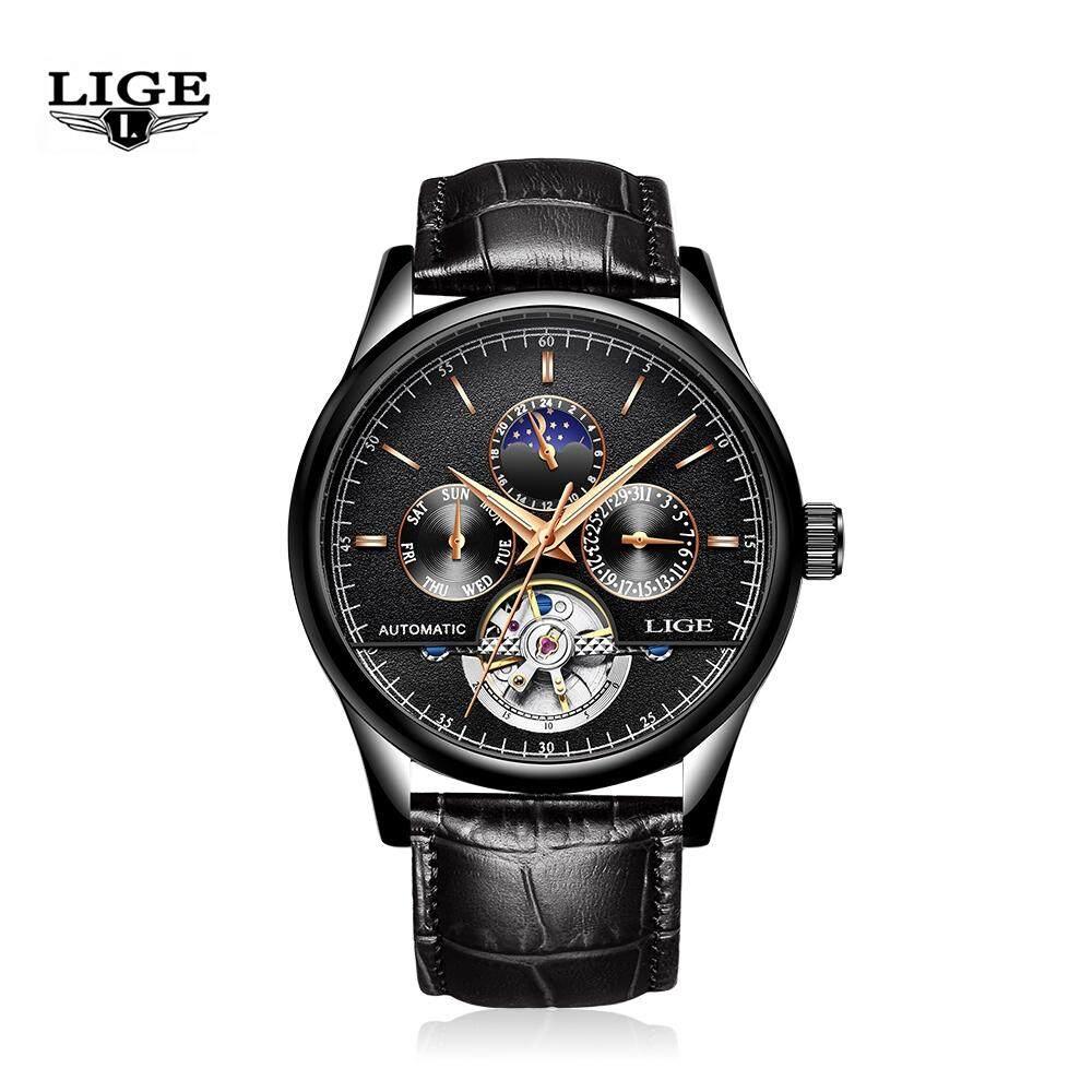 LIGE LG9843 ผู้ชาย Creative Luminous Dial นาฬิกากลไกทางธุรกิจ