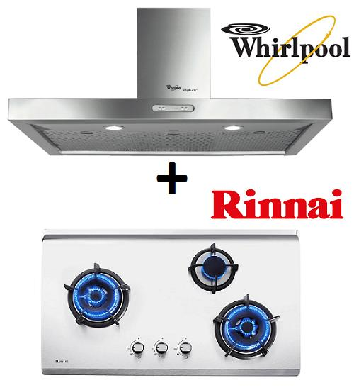 WHIRLPOOL AKR 799 IXL 90CM STAINLESS STEEL CHIMNEY HOOD + RINNAI RB-93US 3 BURNER STAINLESS STEEL BUILT-IN HOB WITH SAFETY DEVICE