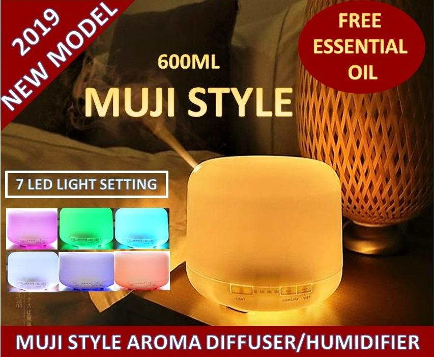 Muji Style Air Humidifier, Essential Oil, Aroma Diffuser, Muji Diffuser with 7 Different Colours Setting [600ml]