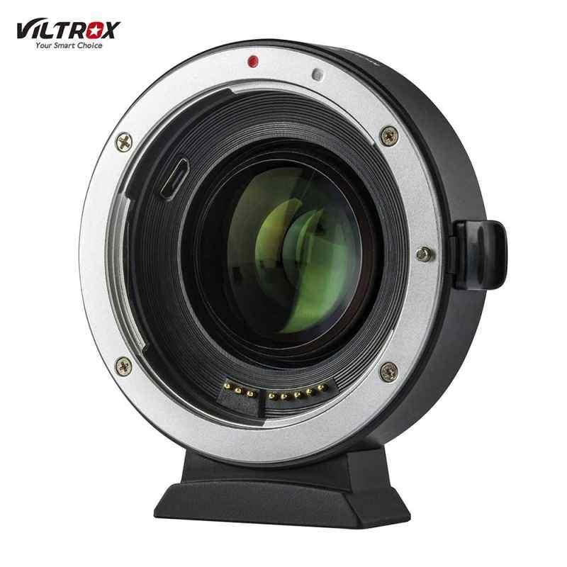 Finemall VILTROX EF-EOS M2 Auto เลนส์โฟกัสตัวแปลงเลนส์แหวน 0.71X คูณความยาวโฟกัส USB อัพเกรดสำหรับ Canon EF รุ่นเลนส์ EOS EF-M กล้องไร้กระจกสำหรับ Canon EOS M/M2/M3/M5/M6/M10/M50/M100