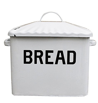 Creative Co-op Enameled Metal Bread Box, White