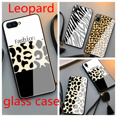 OPPO R9 R9S R11 R11S PLUS  Leopard glass  case