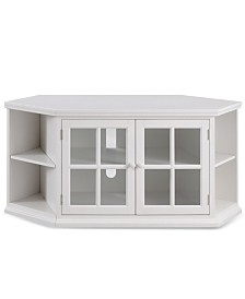 """Leick Home Riley Holliday Cottage White 56"""" Corner TV Console with Bookcase/Display"""