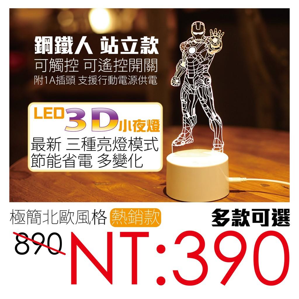 北歐風 3D立體透視 LED 小夜燈 鋼鐵人
