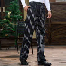Feng ben Pants Trousers Straight-leg Pants Chef Pants BLACK&WHITE Striped Pants Chef Work Pants Full Elastic Waist Adjustable