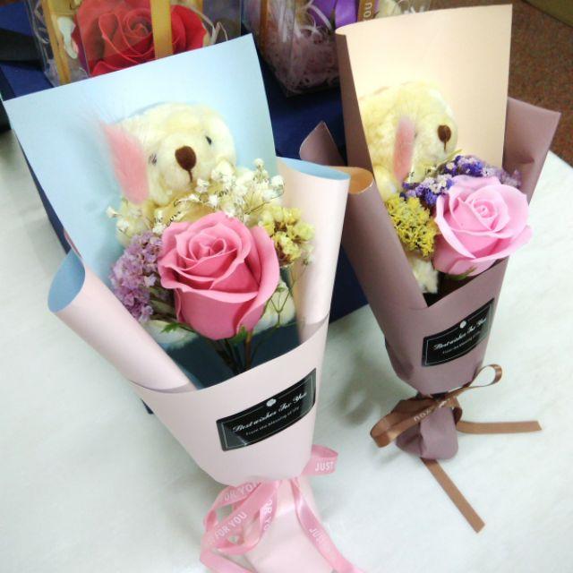 (19色)小熊香皂花束 香皂花束 乾燥花束 小熊花束 玫瑰花束 小熊玫瑰花束 畢業花束 教師節花束 生日花束 花束