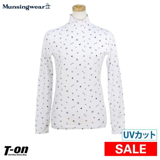 明星服裝Munsingwear女士高領襯衫長袖子內部襯衫企鵝高爾夫球吹走花紋高領貼身襯衫2019春天夏天新作品高爾夫球服裝 t-on